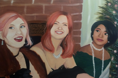 my gal pals n i like to get dolled up for No Reason At All. here's a painting of one of those instances